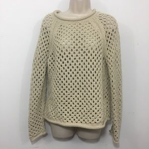 Lou & Gray Open knit rolled collar sweater tan S